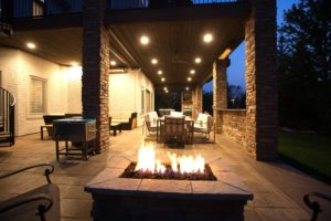 outside fire pit on paver patio
